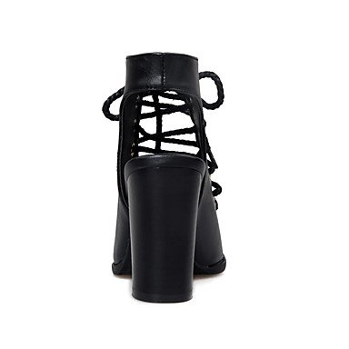 LvYuan Damen-Sandalen-Büro Kleid Lässig-Kunstleder-Blockabsatz-Komfort-Schwarz Beige Black