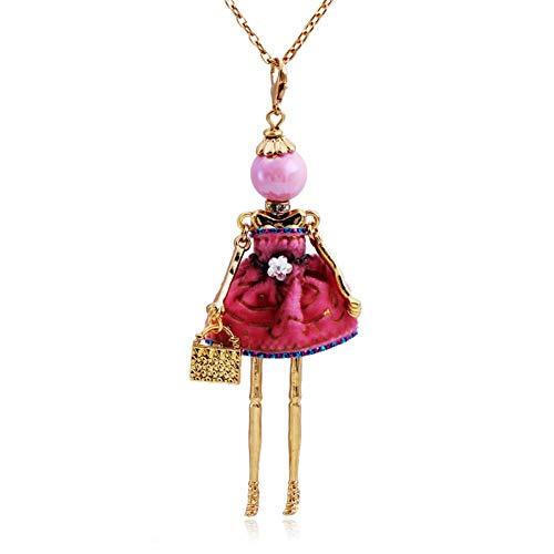 HAOJIUBUJIAN Gold Metall Puppe Anhänger Halskette Solide Cupcake Kleid Lange Hals Kette Quadrat Metall Taschen Anweisung Schmuck -