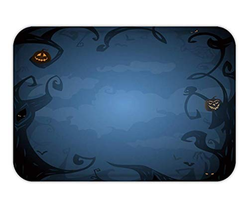 ark Blue Halloween Background with Place for Text Trees Clouds Bats Scary Branches in Twilight ()