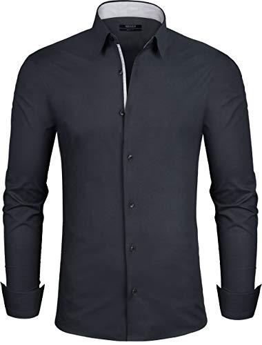 Grin&Bear Design Herren Hemd, Schwarz, Extra Slim, L, SH335
