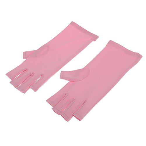 MagiDeal Women Girls Soft Comfortable Wear Nail Art UV Protection Gloves Polish Tips Open-Toed Anti-Ultraviolet Pink 1 Pair