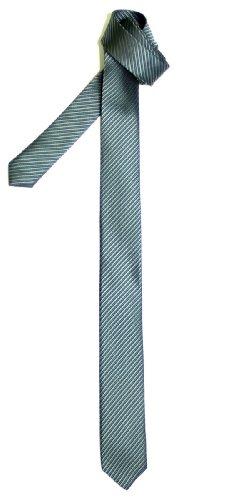 Cravate Fine Slim Texturé À rayures Tissée en Microfibres de Retreez Gris