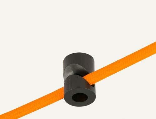Preisvergleich Produktbild Wand- und Deckenpins - V - Schwarz für Textilkabel. 5 Stück. Made in Italy