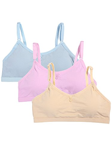 Satinior 3 Stück Mädchen Nahtlose Schaumstoff BH Baumwolle BH Camisole mit Verstellbarem Riemen (Nackte Farbe, Rosa, Hellblau) (Riemen-bustier)
