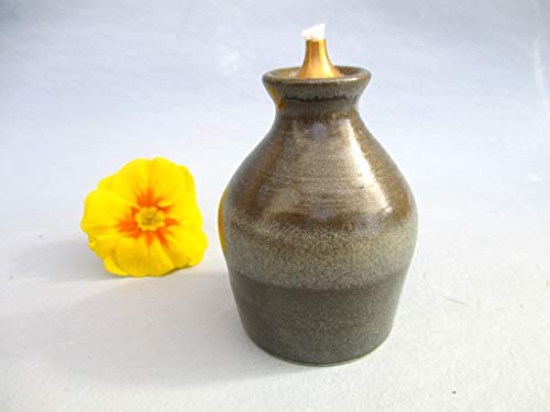 Keramik Öl-Lampe granit mit Messing-Dochthalter, Petroleum-Lampe, Garten-Ölfackel, Terracotta Öl-Leuchte, Öl-Garten-Fackel, Garten-Lampe-Leuchte, Laterne, Tisch-Licht, handmade