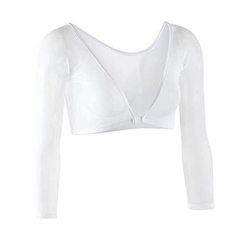 Swing Door Opener (iHENGH Damen Sommer Top Bluse Bequem Lässig Mode T-Shirt Blusen Frauen beide Seiten tragen Schiere Plus Size Nahtlose Arm Former Top Mesh Shirt Blusen(Weiß-2, M))