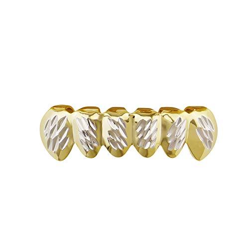 Chlyuan Zahnkappe Hip Hop Schmuck Gold Hosenträger plissiert zweifarbig Zähne Grills für Frauen Geschenk für Männer und Frauen Golden Lower ()