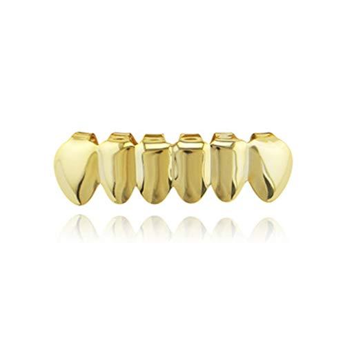 1997LM Gold Galvanisieren Kupfer 6 Überzug Glänzend Grillz Zähne Hip Hop Zähne Oben Und Unten Zähne Zähne Grill Für Weihnachten Halloween