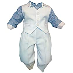 Unbekannt Traje de Bautizo Jóvenes de Bebé Infantil Traje de Boda de Fiesta, 4 Piezas, Blanco Azul K5A - Blanco Azul, 80