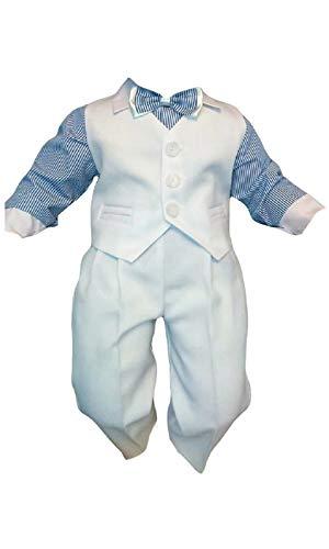 Taufanzug Baby Junge Kinder Hochzeit Anzüge Festanzug, 4tlg , Weiß-Blau K5A Größe ()