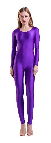 Kepblom Damen Langarm U-Ausschnitt Unitard Spandex Bodysuit für Tanz, Gymnastik-Kostüm - violett - - Unitards Für Tanz Kostüm