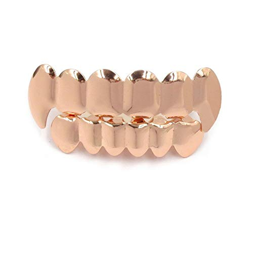 Hip Hop Gold Hosenträger, Gold Tone Fangs, Vergoldete Hip Hop Zähne Grillz Caps Top & Bottom Grill Set Schmuck,3 Fang Grillz Set