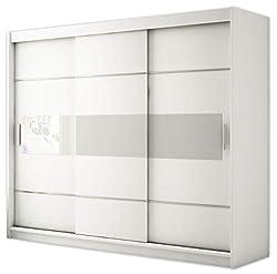 Kryspol Schwebetürenschrank Renato 6 250 Kleiderschrank mit Lacobel, Kleiderstange und Einlegeboden Schlafzimmer- Wohnzimmerschrank Schiebetüren Modern Design (Weiß + Weiß Lacobel)