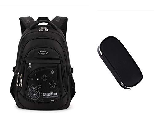 Leefrei Schulrucksack Schulranzen Schultasche Sports Rucksack Freizeitrucksack Daypacks Backpack für Mädchen Jungen & Kinder Damen Herren Jugendliche mit der Großen Kapazität (Schwarz)