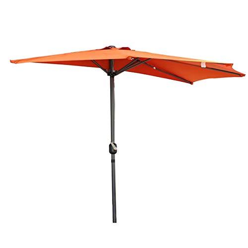 Angel Living 270cm Sonnenschirme mit Kurbel Halbrund UV-Schutz 40+ Wasserabweisend Terrassen Sonnenschirm Balkonsonnenschirm Terrassenschirm (Terrakotta)