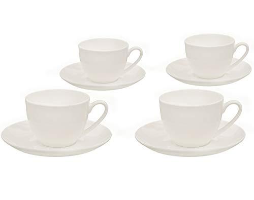 Buchensee Kaffeetassen Set aus Fine Bone China Porzellan. 4 Kaffeetassen je 210ml und 4 Unterteller in fein-cremigem Weiß. - 4 Fine China