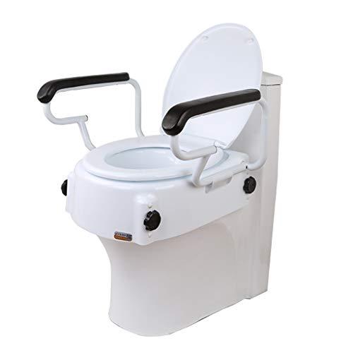 Kizen Toilettensitzerhöhung Mit Griffen, Verstellbarer Haltegriff - Kompakter Stützrahmen Mit Handlauf Für Toilettensitzerhöhung Für Behinderte Und Senioren