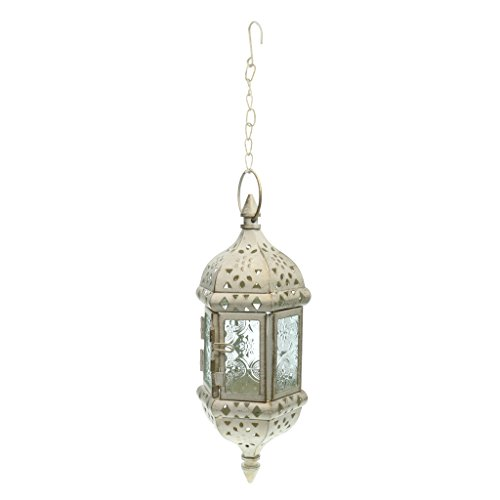 non-brand MagiDeal Retro European Iron Hanging Lantern Decorative Candle Holder with Mosaic Design Glass Panels - White, 9x9x24cm