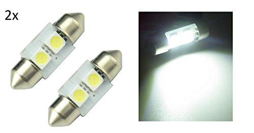 2 LUCI siluro TARGA ABITACOLO auto 31mm smd 2 led 5050 LAMPADA lampadina bianca