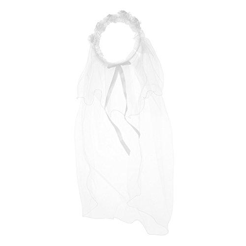 Preisvergleich Produktbild ODN Lace Braut-Kostüm Mädchen Kinder Flower Garland mit Schleier (Weiß)