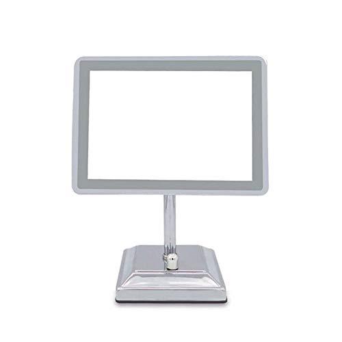 ZNDDB Kosmetikspiegel - Mit Licht 90º einstellbar Rechteckige tragbare Tischplatte Polierter Chrom USB aufladbar schminkspiegel