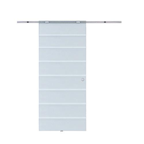 HOMCOM Porta Scorrevole Interno con Binario in Alluminio Vetro 90 × 205 × 0.8cm
