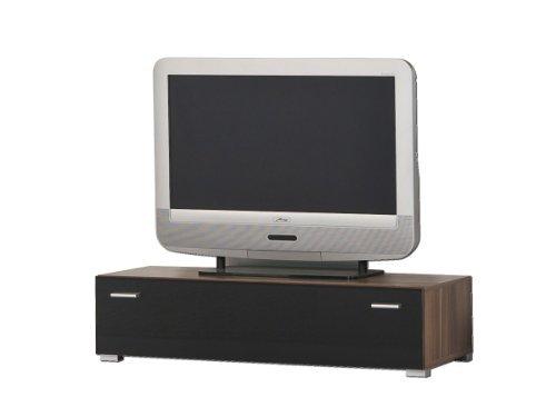Lowboard TV-Möbel TV-Board TV-Bank Unterschrank, Nussbaum / Schwarz glänzend - Breite 100 oder 150 cm, Größe / Breite:100 cm