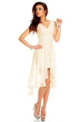 Vokuhila Abendkleid, Brautkleid, Cocktailkleid, Kleid aus Chiffon in creme, XL 40