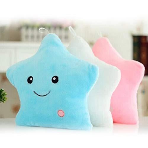 Footprintse Einzigartige Leuchtkissen Vivid Star Design LED Licht Kissen Plüsch Kissen für Schlafzimmer Sofa Geburtstagsgeschenk Spielzeug für Kids-Farbe: weiß