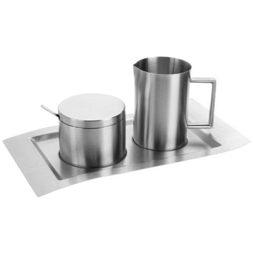 """Esmeyer 400-1655 4-teiliges Milch und Zucker Set """"WAVE"""",  aus gebürstetem Edelstahl 18/10  Das Set besteht aus je einem"""