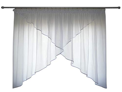FKL Schöne Fertiggardine Fenstergardine aus Voile Gardine Smokband Schräge Fenster Weiß 150-180 cm AG38 (Besatz Weiß)