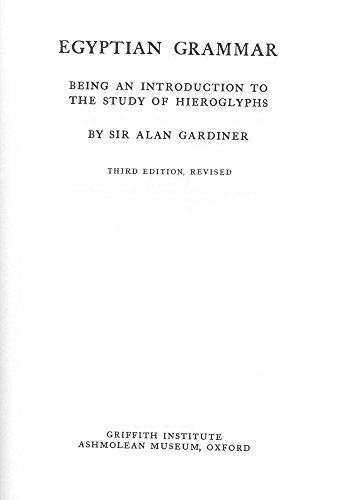Egyptian Grammar (Egyptology: Griffith Institute)