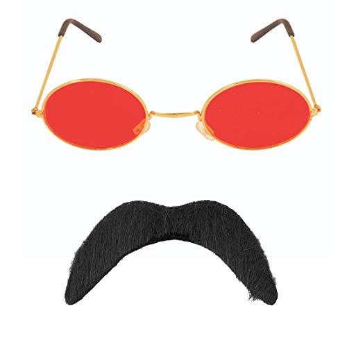 Islander Fashions Adult 70er Jahre schwarzer Schnurrbart und Hippie Brille Kost�m Kit One (70er Jahre Schnurrbart Kostüm)