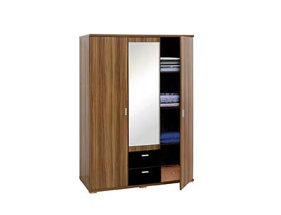 fargo 3 door wardrobe walnut veneer/blk high gloss w/mirror