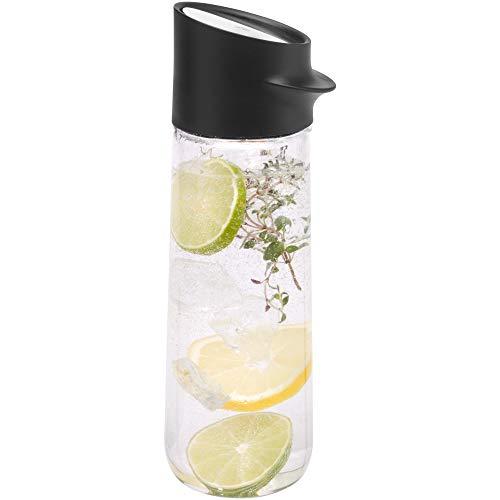 WMF Nuro Wasserkaraffe, 1,0 l, Höhe 29,7 cm, Glas-Karaffe, CloseUp-Verschluss, schwarz