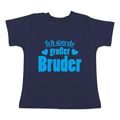Geschwisterliebe Baby - Ich werde großer Bruder - 18-24 Monate - Navy Blau - BZ02 - Baby T-Shirt Kurzarm
