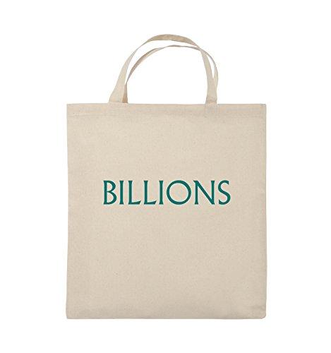 Comedy Bags - BILLIONS - LOGO - Jutebeutel - kurze Henkel - 38x42cm - Farbe: Schwarz / Pink Natural / Türkis