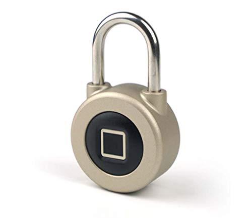 STRIDCJX Cerradura electrónica del candado Elegante, candado de la Huella Digital de Bluetooth de la Cerradura de Puerta de la Seguridad de la Puerta del almacén, de Oro,