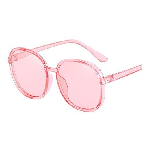 Yuanz Runde Sonnenbrille Frauen transparent farbrahmen Sonnenbrille weibliche Retro Visier Spiegel klar blau rosa Sonnenbrille,EIN