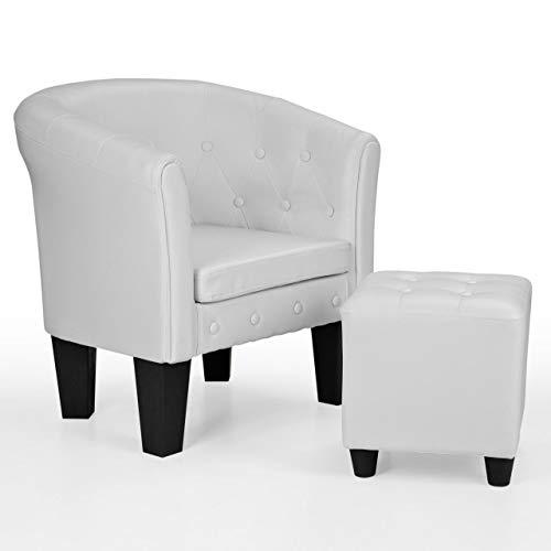 Homelux Chesterfield Sessel und Sitzhocker, aus Kunstleder und Holz, mit Rautenmuster, Farbwahl, Lounge Sessel, Clubsessel, Armsessel, Cocktailsessel, Wohnzimmer Möbel, Design-Polstermöbel, Weiss -