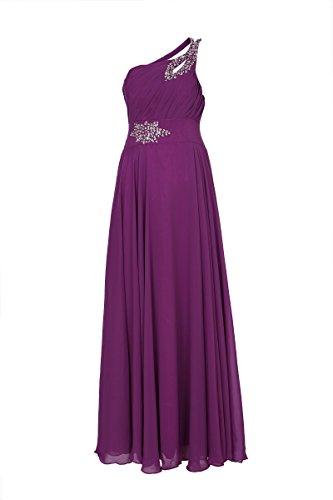 ROBLORA Damen One-Shoulder Kleid, Einfarbig blau blau Violett