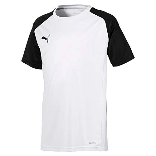 Puma cup sideline tee core, t-shirt unisex bambini, white/black, 152
