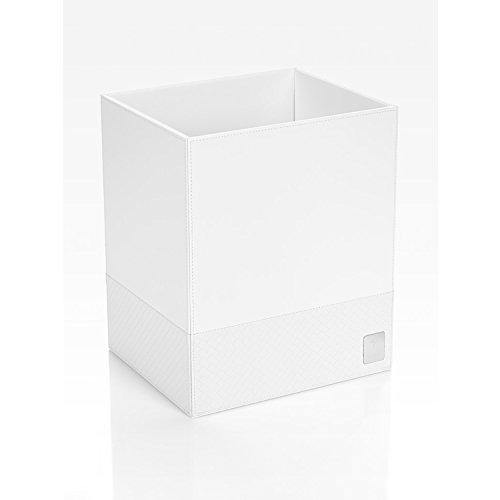JOOP! Papierkorb bathline Weiß, 25x30x21 cm, Leder Optik mit silberner JOOP! Logo Plakette vorne (Leder-plakette)