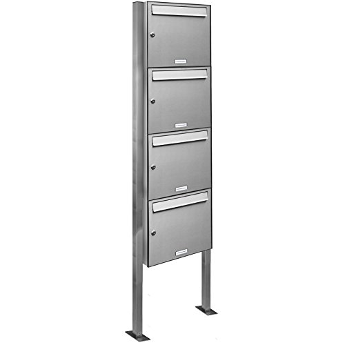 AL Briefkastensysteme 4er Edelstahl Standbriefkasten rostfrei als 4 Fach Briefkastenanlage DIN A4 in Postkasten Briefkasten Design modern