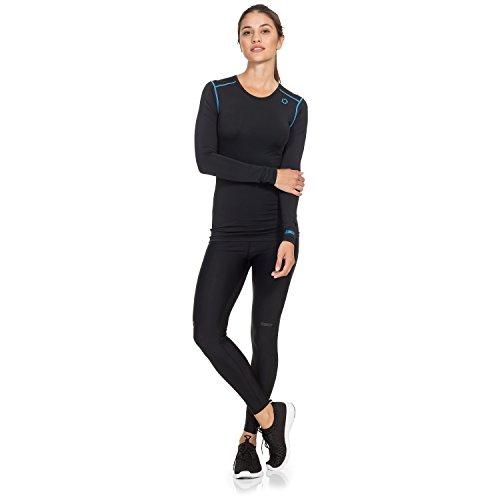 Gregster - T-shirt de compression pour femmes - Manches longues - Convient pour le Fitness, le Yoga, la Zumba et le running - Stretch et respirant Noir/Bleu