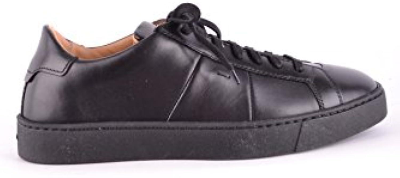 Santoni Herren MCBI267037O Schwarz Leder Sneakers