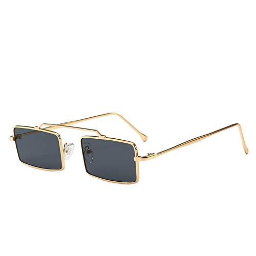 MJDABAOFA Sonnenbrillen,Retro Kleine Rechteckige Sonnenbrille Gold Frame Graue Linse Inspiriert Frauen Vintage Designer Sonnenbrillen Damen Für Schutzbrillen Quadrat Schattierungen Brillen