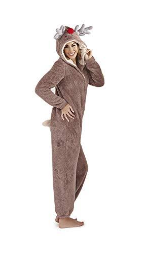 Hari Deals Damen Neuheit Vlies Alles in eins mit Kaputze Fleece Overall - Rentier, XL