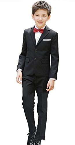Cloud Kids Kinder Anzug Jungen Festlich Schwarzer Anzug mit Jacke Hemd Weste Fliege Hose Körpergröße 140