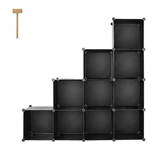 Homfa Schrank DIY Kleiderschrank Regalsystem Stufenschrank Bücherregal Schwarz Ohne Türen 35x35x35cm
